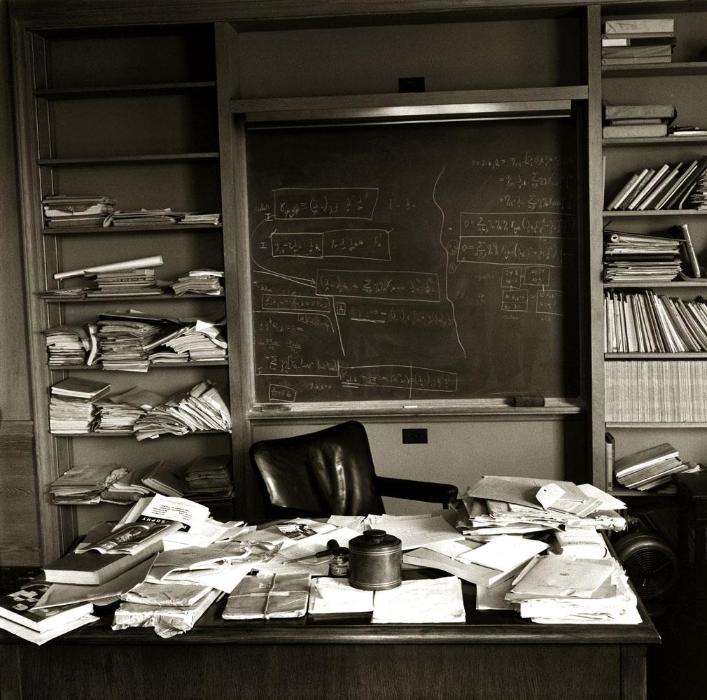 Mess and creativity: Einstein's desk only hours after his death.